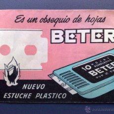 Antigüedades: SOBRE OBSEQUIO BETER//PUBLICIDAD NUEVO ESTUCHE CON CUCHILLA-SIN USAR-CON PRECINTO (8CMS X 6CMS.). Lote 54628516