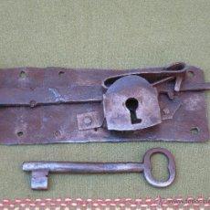 Antigüedades: CERRADURA ANTIGUA EN HIERRO FORJADO - SIGLO XVIII - XIX.. Lote 54641989