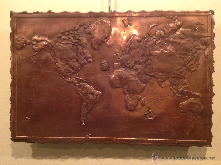 PLACA COBRE MAPA DE ÉPOCA EXPLORACIÓN MUNDO DESCUBRIMIENTOS 1492 Y 1780 ARTE GEOGRÁFICO FIRMADO (Antigüedades - Antigüedades Técnicas - Marinas y Navales)
