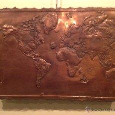 Antigüedades: PLACA COBRE MAPA DE ÉPOCA EXPLORACIÓN MUNDO DESCUBRIMIENTOS 1492 Y 1780 ARTE GEOGRÁFICO FIRMADO. Lote 54667469