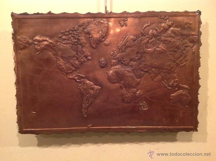 Antigüedades: Placa Cobre Mapa De Época Exploración Mundo Descubrimientos 1492 Y 1780 Arte Geográfico Firmado - Foto 2 - 54667469