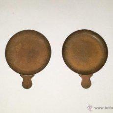 Antigüedades: PLATOS BALANZA, PAREJA 7 CMS. DIAM.. Lote 54727589