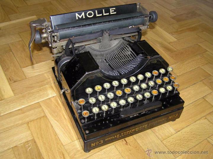 ANTIGUA MÁQUINA DE ESCRIBIR MOLLE Nº 3 MOLLE TYPEWRITER COMPANY, OSHKOSH, WIS., U.S.OF A. (Antigüedades - Técnicas - Máquinas de Escribir Antiguas - Otras)