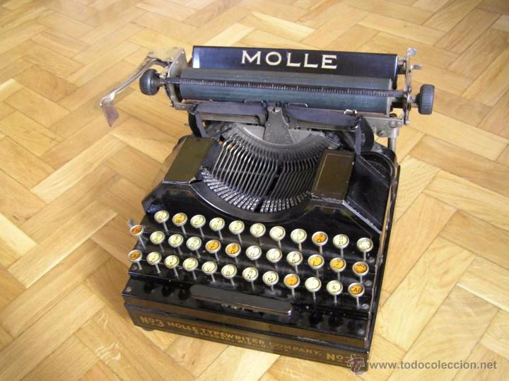 Antigüedades: ANTIGUA MÁQUINA DE ESCRIBIR MOLLE Nº 3 MOLLE TYPEWRITER COMPANY, OSHKOSH, WIS., U.S.of A. - Foto 2 - 54750428