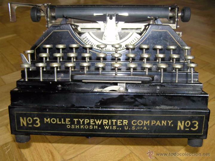Antigüedades: ANTIGUA MÁQUINA DE ESCRIBIR MOLLE Nº 3 MOLLE TYPEWRITER COMPANY, OSHKOSH, WIS., U.S.of A. - Foto 6 - 54750428