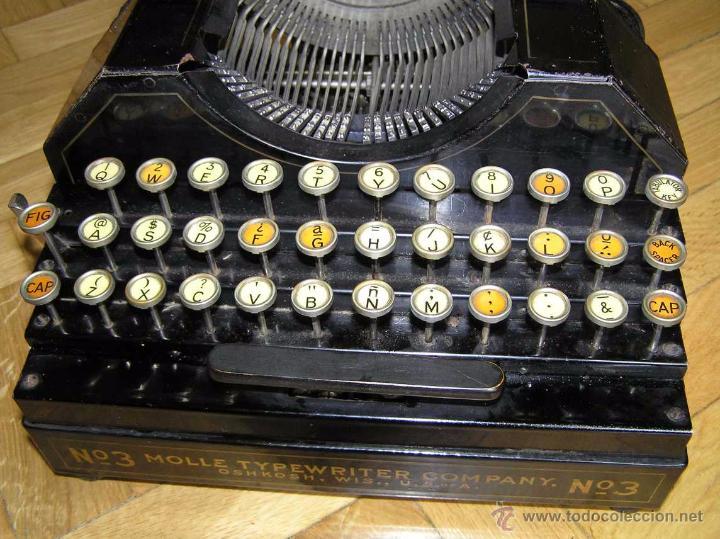 Antigüedades: ANTIGUA MÁQUINA DE ESCRIBIR MOLLE Nº 3 MOLLE TYPEWRITER COMPANY, OSHKOSH, WIS., U.S.of A. - Foto 8 - 54750428