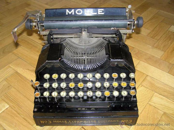 Antigüedades: ANTIGUA MÁQUINA DE ESCRIBIR MOLLE Nº 3 MOLLE TYPEWRITER COMPANY, OSHKOSH, WIS., U.S.of A. - Foto 9 - 54750428