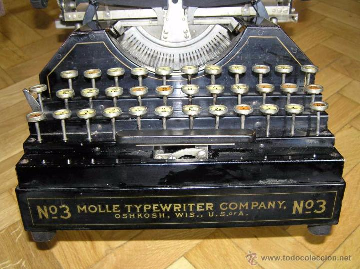 Antigüedades: ANTIGUA MÁQUINA DE ESCRIBIR MOLLE Nº 3 MOLLE TYPEWRITER COMPANY, OSHKOSH, WIS., U.S.of A. - Foto 16 - 54750428