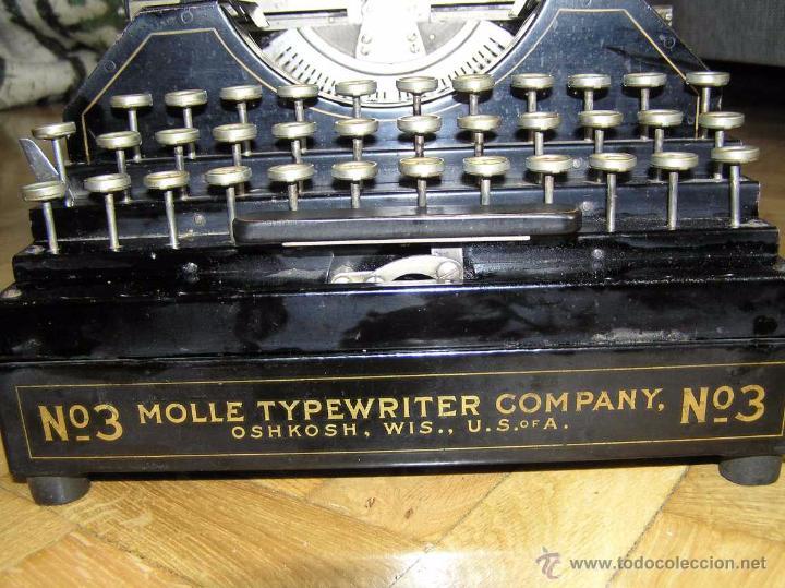 Antigüedades: ANTIGUA MÁQUINA DE ESCRIBIR MOLLE Nº 3 MOLLE TYPEWRITER COMPANY, OSHKOSH, WIS., U.S.of A. - Foto 75 - 54750428