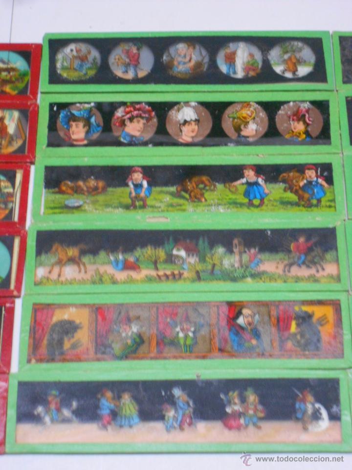 Antigüedades: CAJA CON 24 PLACAS DE CRISTAL PINTADAS DE LA LINTERNA MAGICA. SIGLO XIX. 13X3.5 Y 14X3.5 CMS - Foto 4 - 105790824