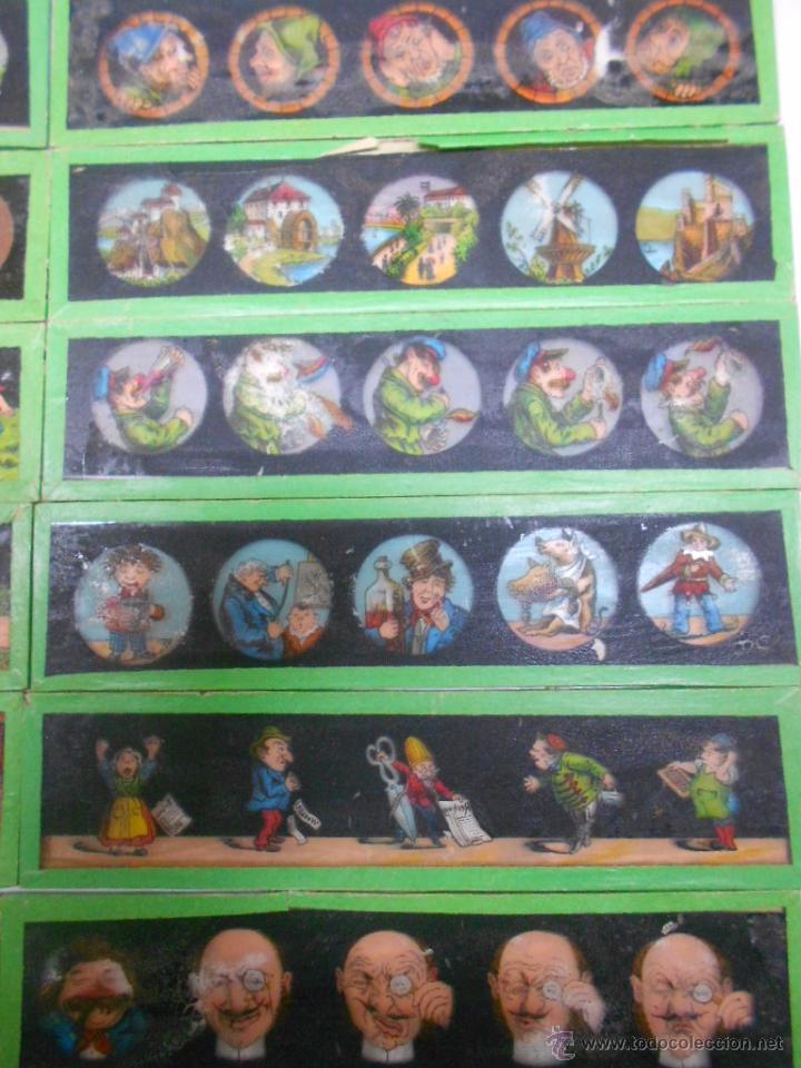 Antigüedades: CAJA CON 24 PLACAS DE CRISTAL PINTADAS DE LA LINTERNA MAGICA. SIGLO XIX. 13X3.5 Y 14X3.5 CMS - Foto 5 - 105790824