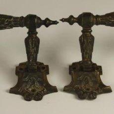 Antigüedades: PAREJA DE TIRADORES DE PUESTA EN BRONCE. MOTIVOS FLORARLES. SIGLO XIX.. Lote 52482945