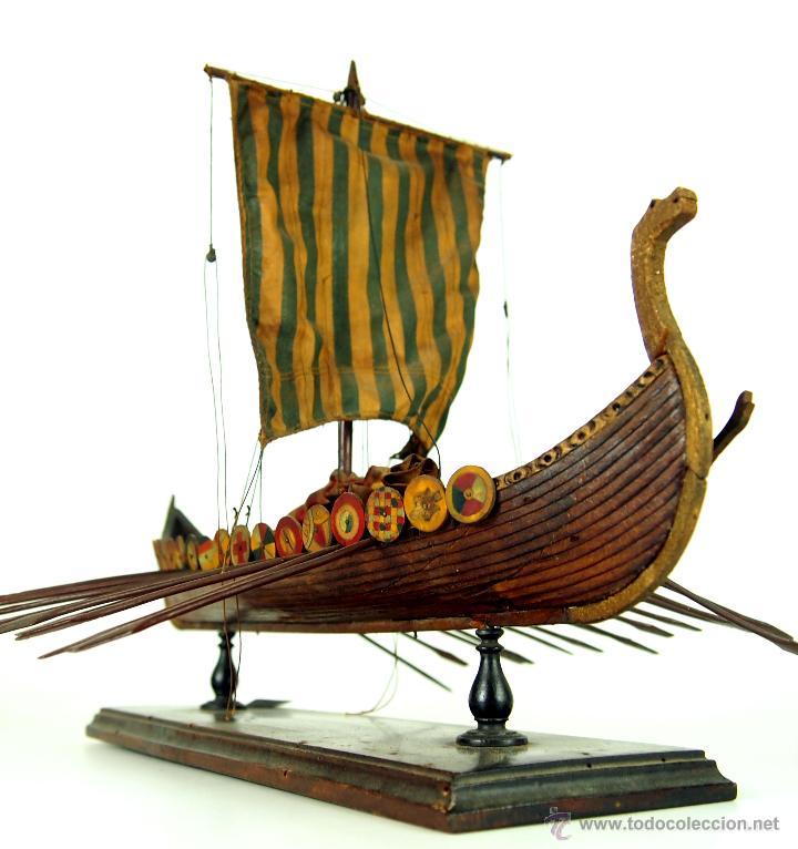 Drakkar barco vikingo madera policrom ada me comprar - Antiguedades de barcos ...