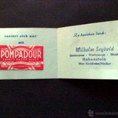 Antigüedades: CARTERITA PUBLICITARIA DE LA HOJA DE AFEITAR,POMPADOUR,SOLINGEN (DESCRIPCIÓN). Lote 54836319