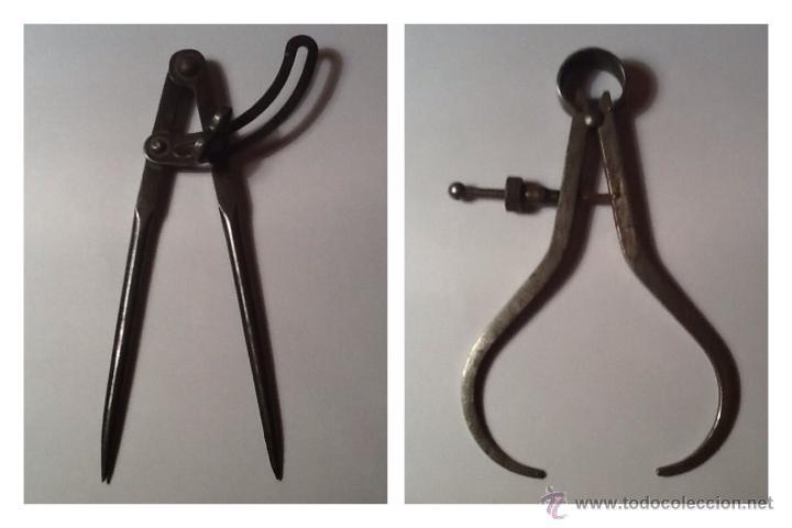 2 COMPÁS ANTIGUOS DE CALDERERO (Antigüedades - Técnicas - Herramientas Profesionales - Mecánica)