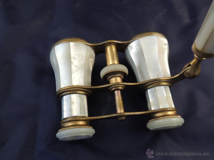 Antigüedades: ANTEOJOS PRISMATICOS BINOCULARES DE TEATRO EN NACAR CON LA MANO - Foto 9 - 88918534