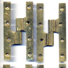 Antigüedades: 4 ANTIGUAS BISAGRAS DE BRONCE MACIZO, 12 CM LARGO, PESAN 500 G.. Lote 54883828