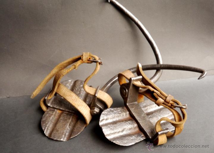 Antigüedades: GRAMPONES PARA SUBIR POSTES DE TELEFÓNO COMPLETOS - Foto 4 - 54914884