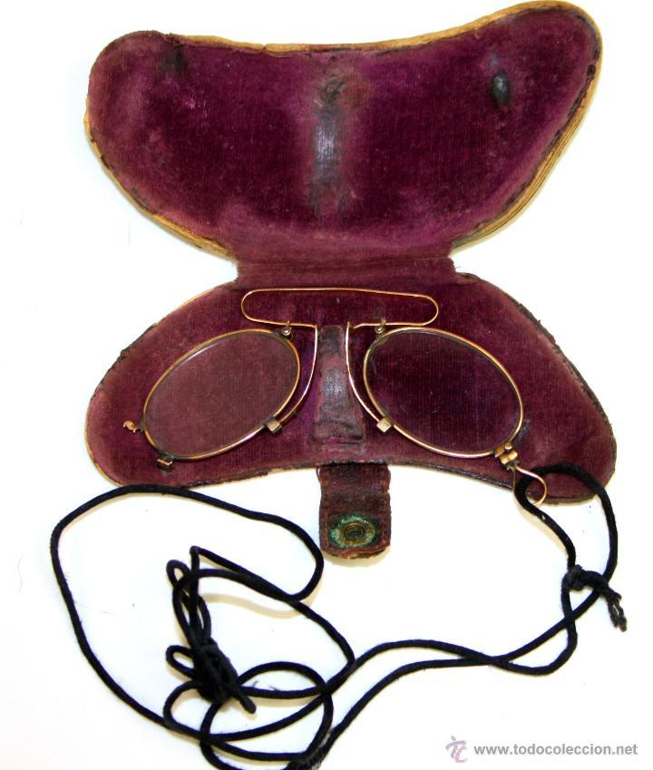 QUEVEDOS EN ORO. FUNDA ORIGINAL. ESPAÑA. SIGLOXIX. (Antigüedades - Técnicas - Instrumentos Ópticos - Gafas Antiguas)