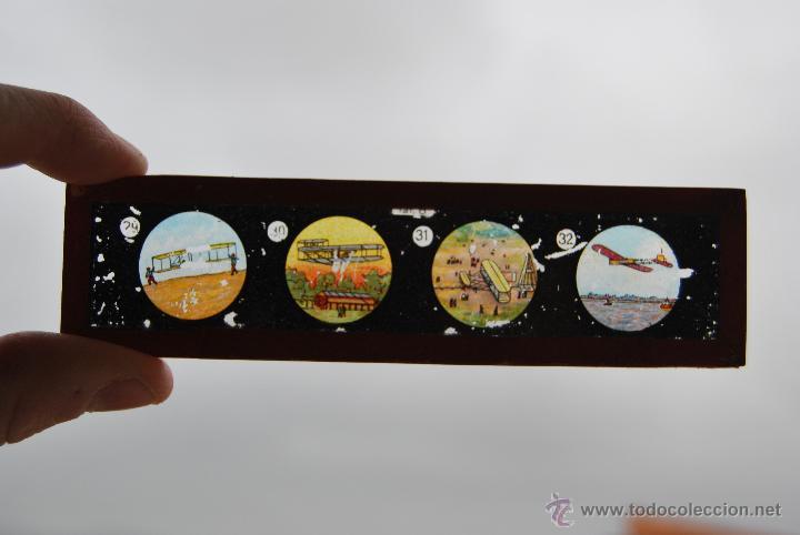 ANTIGUA PLACA DE CRISTAL PARA LINTERNA MÁGICA - PROYECTOR - AVIÓN - AVIONES - CIRCA 1900 (Antigüedades - Técnicas - Aparatos de Cine Antiguo - Linternas Mágicas Antiguas)