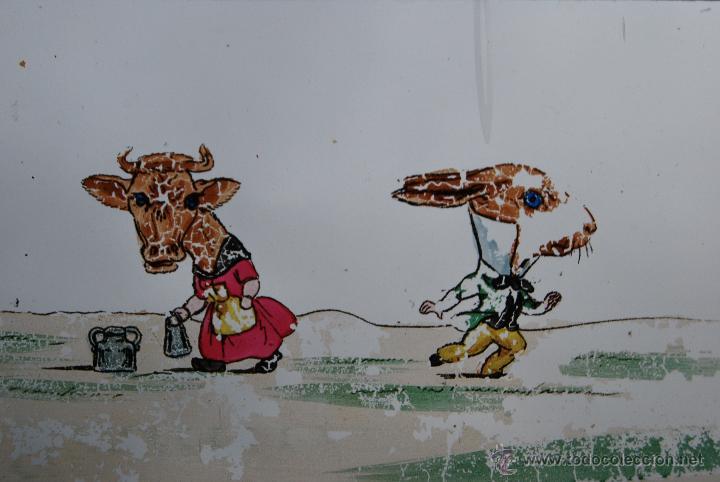 Antigüedades: ANTIGUA PLACA DE CRISTAL PARA LINTERNA MÁGICA - PROYECTOR - ANIMALES VESTIDOS - CIRCA 1900 - Foto 2 - 54957973