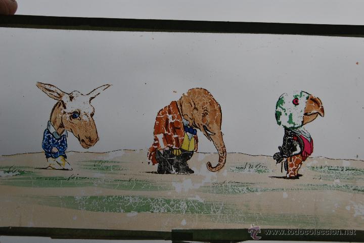 Antigüedades: ANTIGUA PLACA DE CRISTAL PARA LINTERNA MÁGICA - PROYECTOR - ANIMALES VESTIDOS - CIRCA 1900 - Foto 3 - 54957973