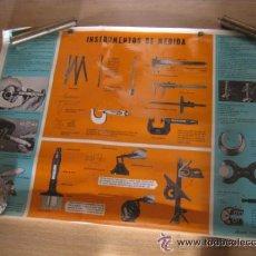 Antigüedades: GRAN CARTEL FERRETERIA 88 CM INSTRUMENTOS DE MEDIDA PLASTIFICADO 1965 REGLA CALIBRE ETC. Lote 55040155