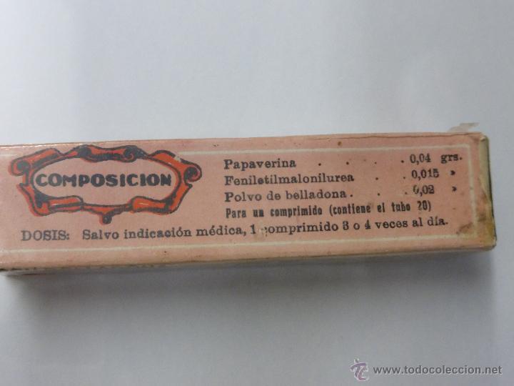 Antigüedades: Antigua botella frasco caja de farmacia, Papaverlumin pidefé con belladona, precintada - medicamento - Foto 5 - 55069771