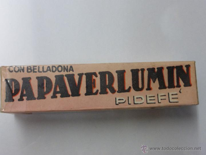 Antigüedades: Antigua botella frasco caja de farmacia, Papaverlumin pidefé con belladona, precintada - medicamento - Foto 8 - 55069771