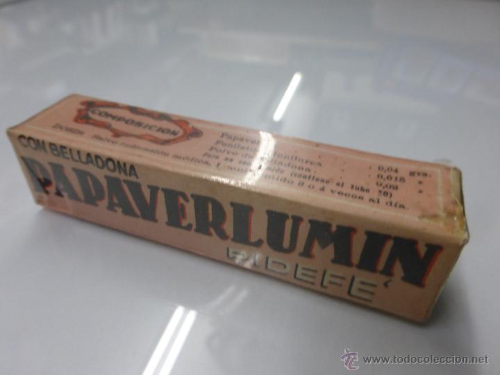Antigüedades: Antigua botella frasco caja de farmacia, Papaverlumin pidefé con belladona, precintada - medicamento - Foto 9 - 55069771