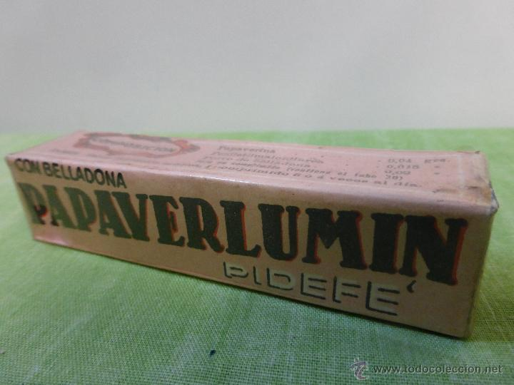 Antigüedades: Antigua botella frasco caja de farmacia, Papaverlumin pidefé con belladona, precintada - medicamento - Foto 10 - 55069771