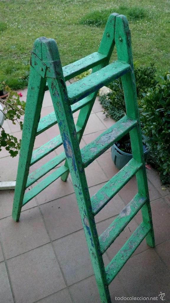 Antigua escalera de madera de pintor comprar for Escaleras pintor precios