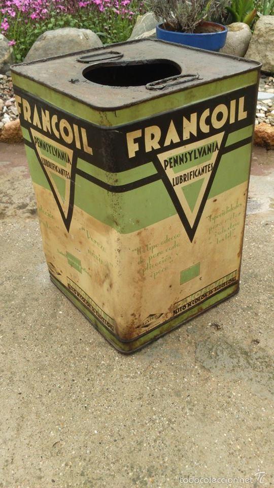Antigüedades: lata bote francoil francos industrias metalgraficas barcelona pensylvania años 30 - Foto 2 - 55146635