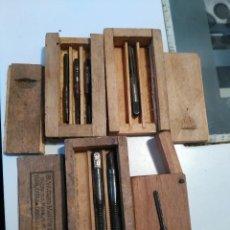 Antigüedades: LOTE 4 JUEGOS DE TERRAJAS EN CAJAS DE MADERA DIFERENTES. Lote 55159685