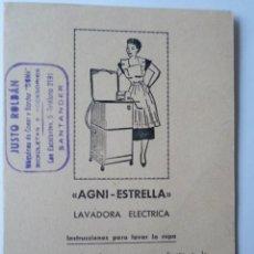Antigüedades: MANUAL DE INSTRUCCIONES LAVADORA ELECTRICA - AGNI-ESTRELLA- AÑOS 50. Lote 55351798