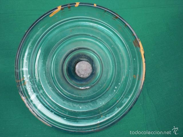 Antigüedades: AISLADOR DE LINEAS DE CABLE ALTA TENSION GRANDE EN CRISTAL VERDE 26 CM - Foto 3 - 55355826