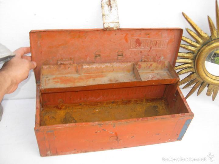 Antigüedades: preciosa CAJA DE HERRAMIENTAS ANTIGUA IDEAL USO DECORACION INDUSTRIAL MARGAVIL - Foto 2 - 55371347
