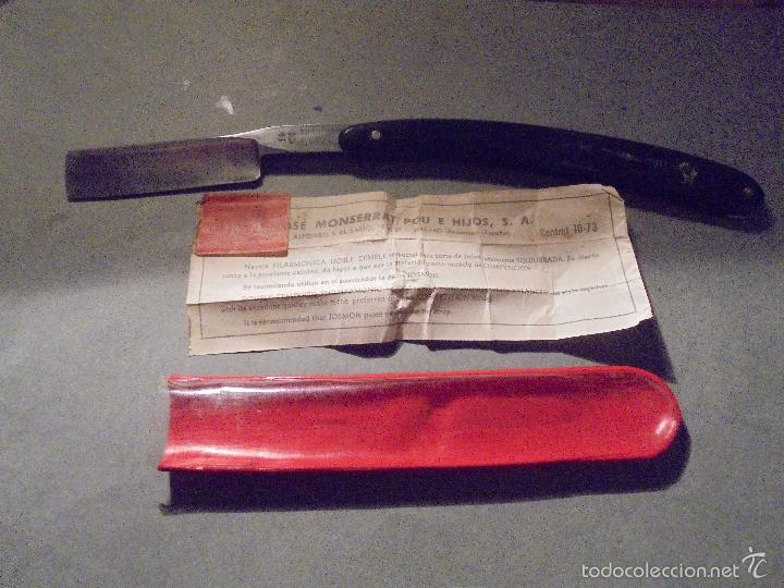 Antigüedades: FILARMONICA - ANTIGUA NAVAJA DE AFEITAR DOBLE TEMPLE 14 JOSE MONTSERRAT POU FABRICACION ESPAÑOLA - Foto 3 - 55691358