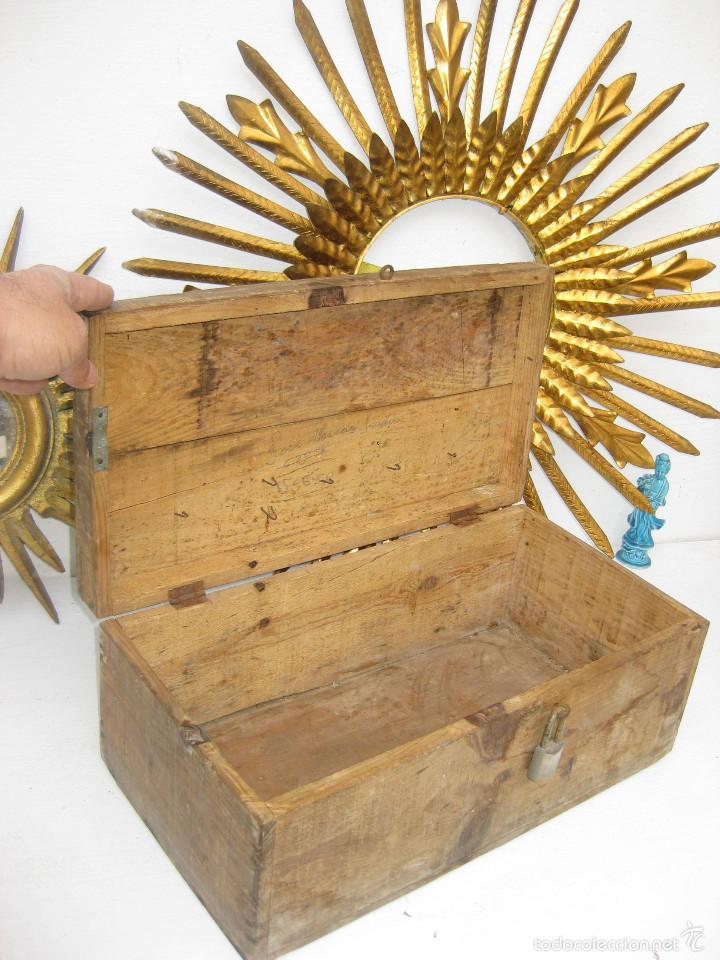 Antigüedades: PRECIOSA GRAN CAJA HERRAMIENTAS DE MADERA IDEAL USO Y DAR UN AIRE DECORACION INDUSTRIAL - Foto 3 - 55730498