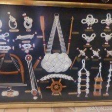Antigüedades: CUADRO DE NUDOS MARINEROS DE 64 X 45 CM. . Lote 55774871