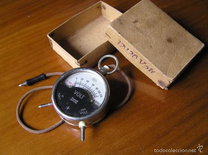 Antigüedades: ANTIGUO VOLTIMETRO DE BOSILLO EN SU CAJA ORIGINAL ANTIQUE POCKET VOLTMETER - Foto 6 - 55818580