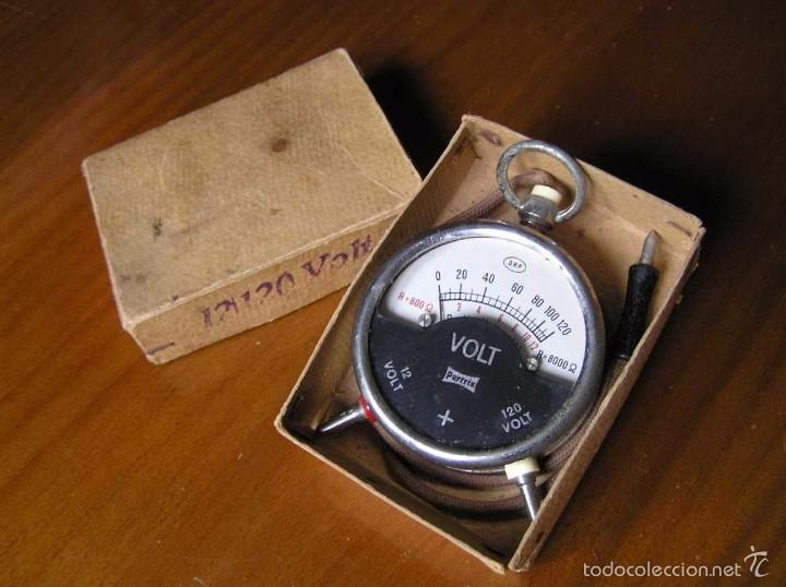 Antigüedades: ANTIGUO VOLTIMETRO DE BOSILLO EN SU CAJA ORIGINAL ANTIQUE POCKET VOLTMETER - Foto 20 - 55818580