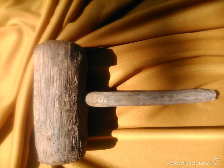 MAZA DE MADERA DE PRINCIPIOS SIGLO VEINTE (Antigüedades - Técnicas - Herramientas Profesionales - Albañileria)