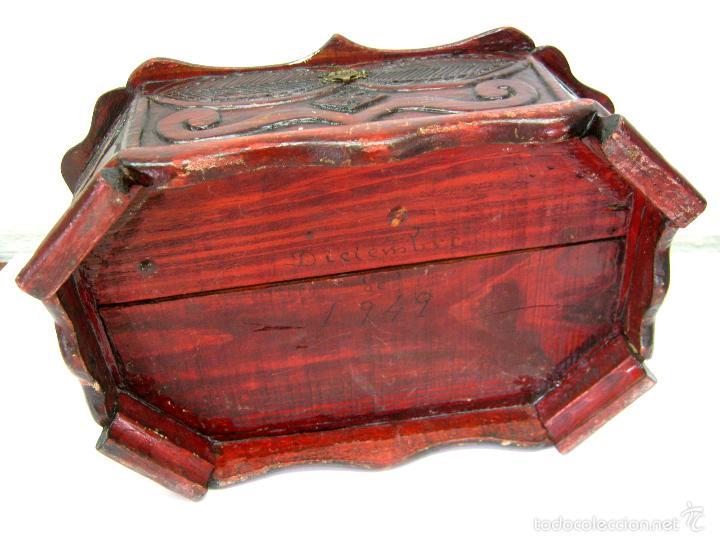 Antigüedades: ANTIGUA CAJA COSTURERO TALLA MADERA - Foto 6 - 56166496