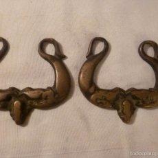 Antigüedades: PAREJA ASA DE BRASERO DE BRONCE. Lote 56196317