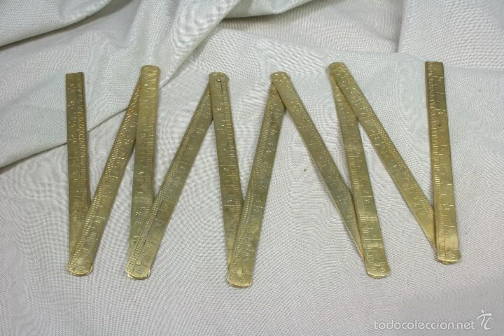METRO PLEGABLE EN CMS DE 1 M Y 1 VARA. S.XIX. (Antigüedades - Técnicas - Varios)