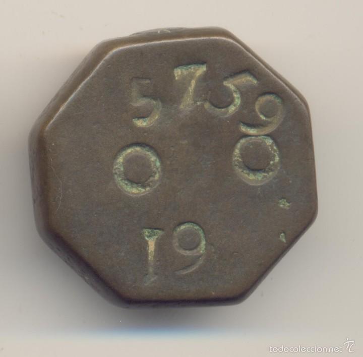 ANTIGUA PESA O PONDERAL SIGLO XIX MALLORCA TIPO OCTOGONAL PESO: 66,1 GRAMOS. (Antigüedades - Técnicas - Medidas de Peso - Ponderales Antiguos)