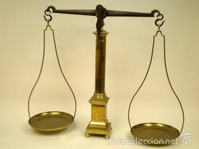 BALANZA-ANTIGUA-DE-LATON (Antigüedades - Técnicas - Medidas de Peso - Balanzas Antiguas)