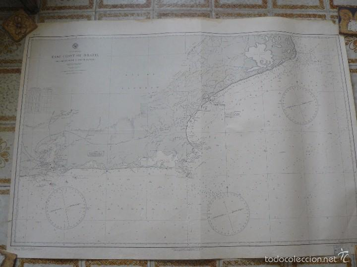 EAST COAST OF BRAZIL - CABO DE SAO TOME TO RIO DE JANEIRO - CARTA MARINA 77X108 CM. - 1945 (Antigüedades - Antigüedades Técnicas - Marinas y Navales)