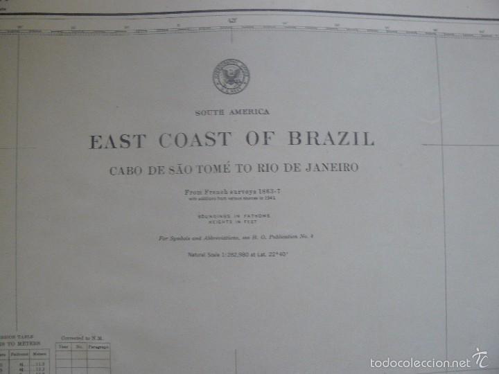 Antigüedades: EAST COAST OF BRAZIL - CABO DE SAO TOME TO RIO DE JANEIRO - CARTA MARINA 77X108 CM. - 1945 - Foto 3 - 56866105